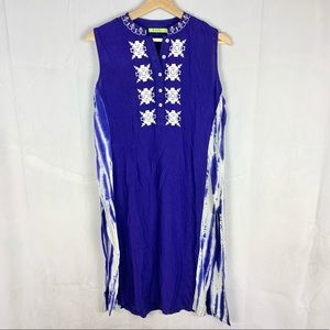 Blue Tie Dye Embroidered Sleeveless Kaftan SZ Lg